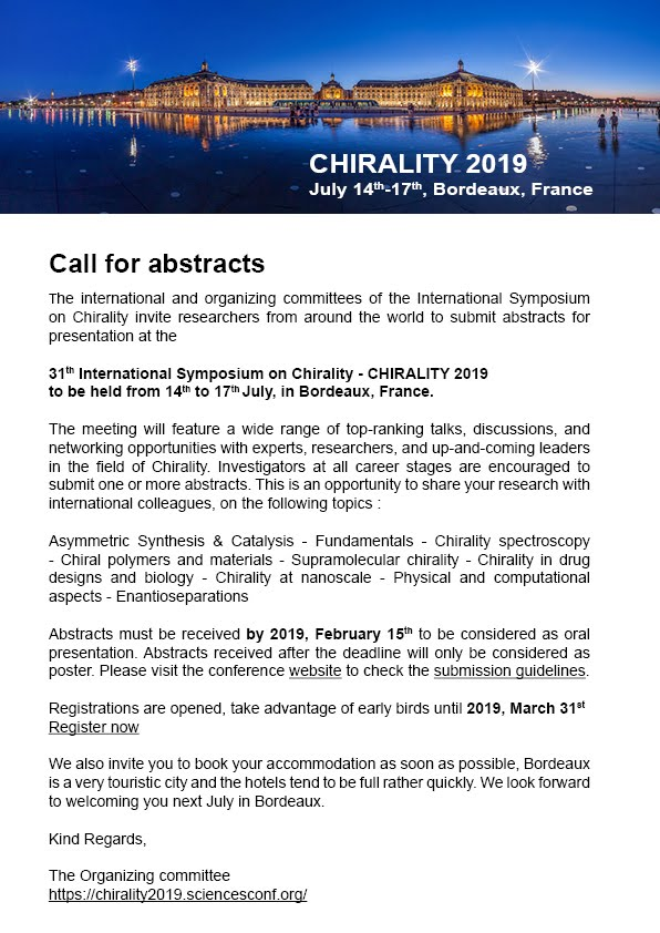 Chirality 2019 Call for Abstracts